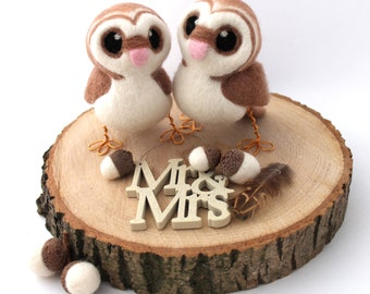 Needle Felted Owl Wedding Cake Topper Barn Owl Pair in soft Browns With Heart shaped Face Felt Birds