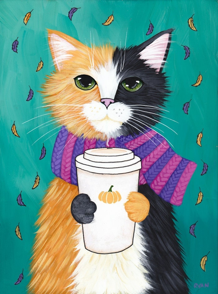 Autumn pumpkin coffee cat original folk art portrait for Cat paintings on canvas