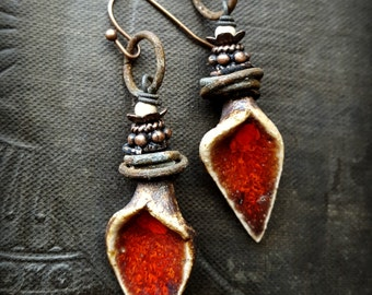 Ceramic Charms, Flower Pods, Rustic, Organic, Tribal, Boho, Gypsy, Flower Earrings, Beaded Earrings