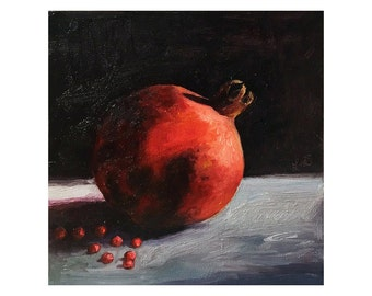 Pomegranate Fruit - Original Oil Painting - 8x8 inch - Kitchen Art