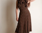 Vintage 1940s Dress - Chocolate Brown Paisley Print Ruffle Wrap Dress - Medium