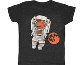 KIDS Astronaut T-shirt Retro SciFi Tee Shirt Funny Dino Trex Tyrannosaurus Rex Outerspace StarWars Space Mars Moon Stars Planets NASA Tshirt