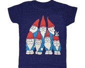 KIDS Gnomes - T-shirt Scandinavian Funny Gnome Woodland Nature Forest Family Portrait Humor Elf Dwarf Fairy Retro Vintage Triblend Tshirt