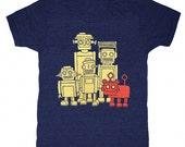 Vintage Robots - Unisex Mens T-shirt Retro SciFi Tee Shirt Awesome Funny Geek Science Fiction Nerd Robot Techie Technology Triblend Tshirt