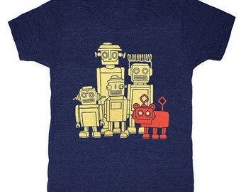 Vintage Robots - Unisex Mens T-shirt Retro SciFi Tee Shirt Awesome Funny Geek Science Fiction Nerd Robot Techie Technology Triblend Tshirt