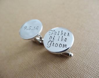 Father of the Groom Cufflinks - Personalized Wedding Cufflinks