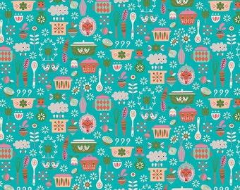 SALE fabric, Vintage Kitchen fabric, Vintage Pyrex, Aqua fabric,  Cotton Fabric, Vintage Kitchen by Riley Blake, Choose the Cut