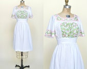 1960s Bohemian Dress --- Vintage White Cotton Dress
