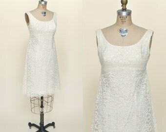1960s Wedding Dress --- Vintage Lace Mini Dress