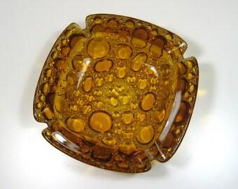 Harvest Gold Faux Bubble Textured Pebbles Glass Ashtray 1970's Mod