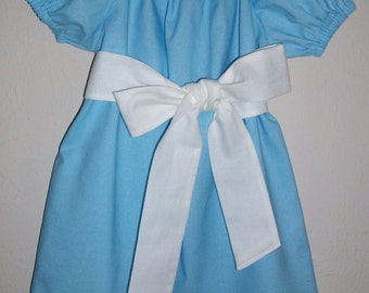 Alice Dress Peasant Dress with Sash Alice in Wonderland Party Baby Blue Dress Easter Dress toddler dress short sleeve dress Alice Costume