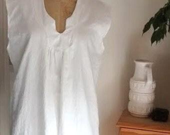 Linen Tunic dress. Women's Tunic. Loose Shift Dress for Women. white. Kimono sleeve. size XS/S.