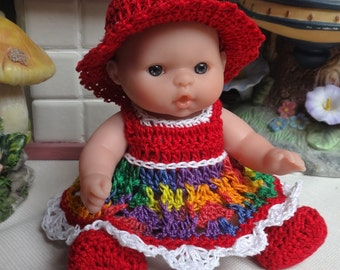 Crochet outfit Berenguer 5 inch Lots to Love baby doll Dress Set Festive Red Yellow Purple Blue White