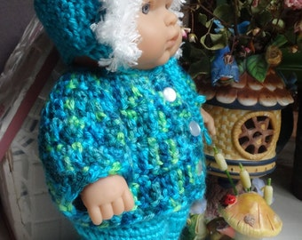 Crochet outfit for Berenguer 10 inch LTL baby doll Yarn Baby its Cold Outside Hat Sweater Pants Shoes Blue Boy Girl