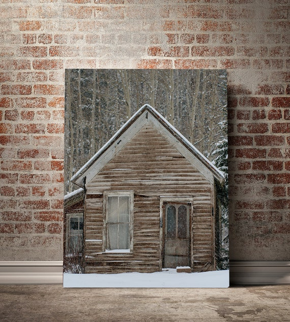 Winter cabin photography rustic home decor colorado for Winter cabin bedding