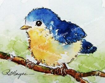 Watercolor Painting Print of Bird Baby Bluebird Art Nursery Gift Housewarming