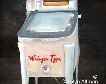 Wringer Type a laundry room art print of an antique washer