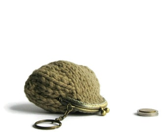 Small Coin Purse, Coin Purse Knitted, Coffee Brown Cotton, Kiss Lock Coin Purse, Coin Purse Keychain, Clasp Coin Purse, Knit Pouch