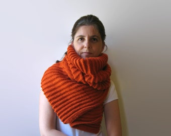 SALE - Knit Shawl Wrap in Burnt Orange Soft Blend Wool - Scarf - Man Woman