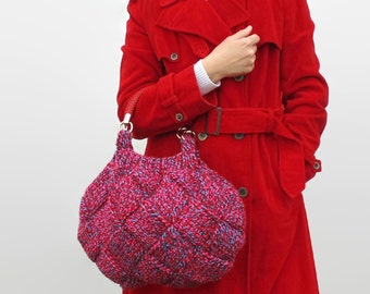 Hobo Bag Purse - Woman Hand Bag Knit in Tweed Red Wool - Short Handles Straps