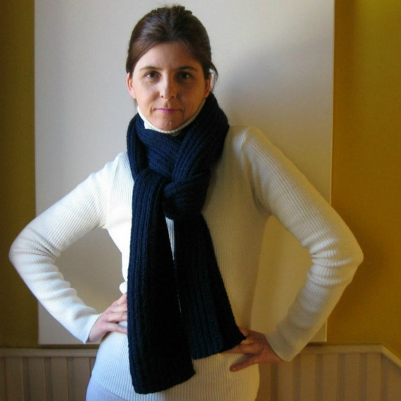 Navy Blue Scarf Hand Knitted in Soft Wool - Men Scarf - Womens Scarves - Handmade Scarf