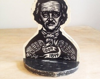 Edgar Allan Poe Bookend, Edgar Allan Poe Linocut on Wooden Bookend, Poe Portrait Bookend, Author Bookend
