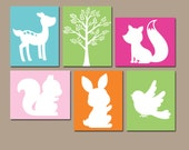 Girl WOODLAND Wall Art, Forest Theme Decor, Baby Girl Nursery Artwork, Tree Bird Bunny Fox Deer, Set of 6 Canvas or Prints, Girl Playroom