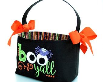Halloween Trick or Treat bag basket bucket fabric Applique BOO Y'ALL