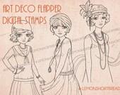 Art Deco Flapper GIrls Digi Stamps Set of 3, Adult Coloring Pages, Digital Retro Vintage Fashion, Scrapbooking Supplies, Instant Download
