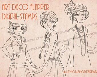 Digital Stamps Art Deco Flapper Girls Set, Digi Download Coloring Pages, Vintage Fashion, Scrapbooking Supplies, Clip Art