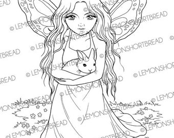 Digital Stamp Fairy with Bunny, Rabbit Digi Download, Fantasy Anime, Coloring Page, Butterfly Girl, Scrapbooking Supplies, Clip Art