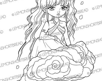 Digital Stamp Cloud Fairy, Fantasy Digi Download, Coloring Page, Chinese Girl Oriental, Fairytales, Scrapbooking Supplies, Clip Art