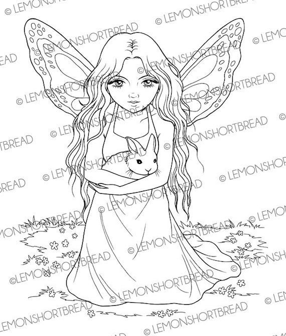 Fairy with Bunny Digital Stamp, Rabbit Digi Stamp PNG, Cute Fantasy Art Anime, Adult Coloring Page, Butterfly Girl, Instant download