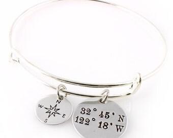 Custom Coordinates Bracelet - Compass Bangle Bracelet - Personalized Bangle with your Latitude & Longitude - in Silver or Gold