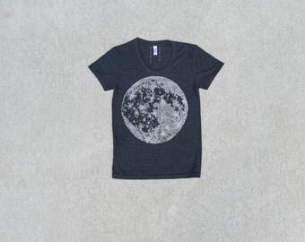 MOON shirt - women tshirt - graphic tee women - full moon t shirt - tri-blend black tee - astronomy shirt - gift for her by Blackbird Tees