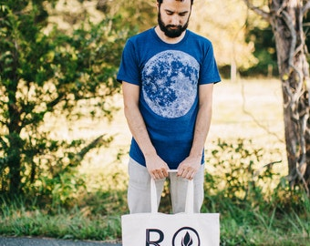 Full Moon - tshirt men, mens graphic tee - moon print on indigo blue - astronomy shirt for him - mens fashion