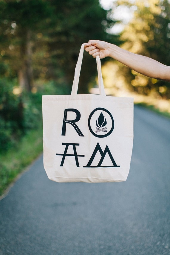 ROAM Tote Bag / extra large cotton tote / gift for travelers / hiking and camping / natural cotton tote bag