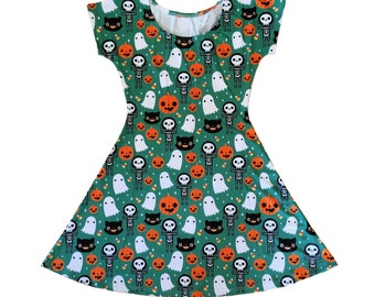 Halloween Skater Fit and Flare Dress - Size S-3X - Ghost Skeleton Pumpkin Candy Corn