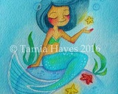 PRINT- watercolor- painting- tamia- chicasol- mermaid- ocean- seastar- starfish- child- big eye art- seaweed- fantasy-