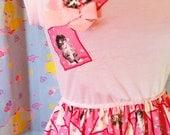 Cat dress, pink heart vintage style kitten lover fairy kei size medium M