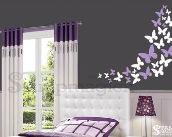 Lots of Butterflies Wall Decal - Butterflies Wall Decal for Girl's bedroom or baby girl nursery - vinyl wall decal graphics - K191