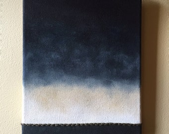 """Hand embroidered acrylic painting """"Abstract Horizons"""""""