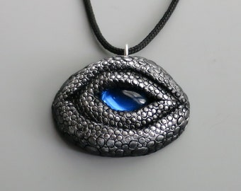 Dragon Eye Pendant Necklace Polymer Clay, Black and Antique Silver with Vintage Sapphire Cabochon