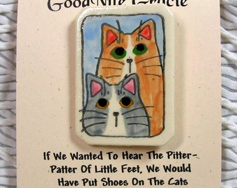 Cat Duo Clay Pin Brooch Handmade by Grace M Smith Earthenware Ceramic