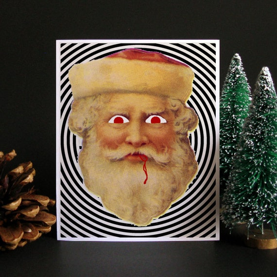 Funny Christmas Card, Funny holiday card, Holiday card, Christmas card, Weird Christmas, Santa Claus, Gift idea, gift for men - Evil Santa