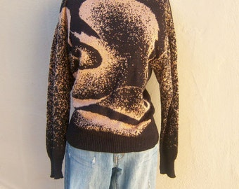 80s abstract sweater /sparkly black copper swirl / boatneck, lightweight womens small medium