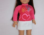 18 inch doll clothes, pink hearts and flowers print shirt, white cotton skirt, Upbeat Petites