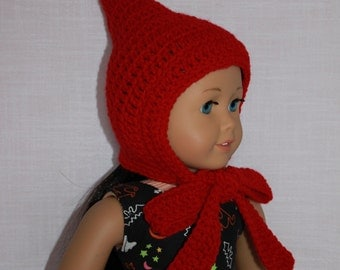 red crochet hat, pixie hat, elf hat, with ties,  18 inch doll clothes,  Maplelea