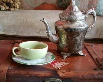 Bohemian tea party, Silver tea pot, vintage tea server, vintage coffee pot, vintage silver plate, eclectic