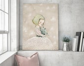 Girl with cat - Portrait - Holli - Nursery Wall Art - Nursery Decor - Childrens Art - Kids Wall Art - Nursery Art